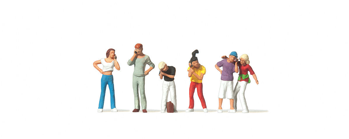 Youths with Mobile Phones (6) Figure Set