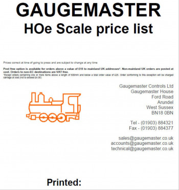 HOe Scale Retail Price List