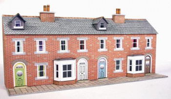 Low Relief Red Brick Terraced House Fronts Card Kit