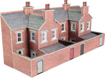 Low Relief Red Brick Terraced House Backs Card Kit