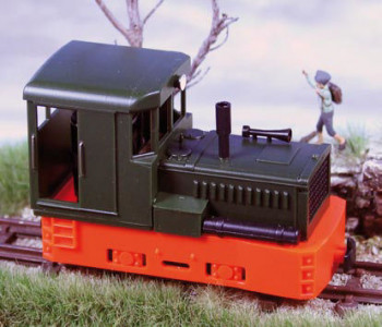 Plymouth Diesel Loco Green Body/Red Chassis-Boxes&Tank