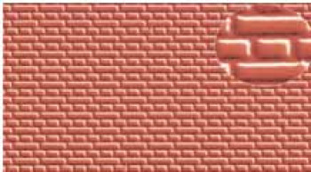 Embossed Plastikard 4mm English Brick Bond Red 300x174mm