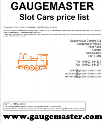 Slot Cars Retail Price List