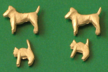 Unpainted Whitemetal Cats and Dogs (4)