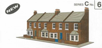 Four Red Brick Terraced Fronts Card Kit