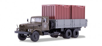 KRAZ-257B1 Flatbed Truck with Container Load