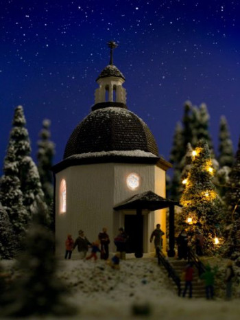 Silent Night Memorial Chapel with Lighting and Snow Kit
