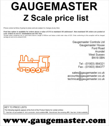 Z Scale Retail Price List